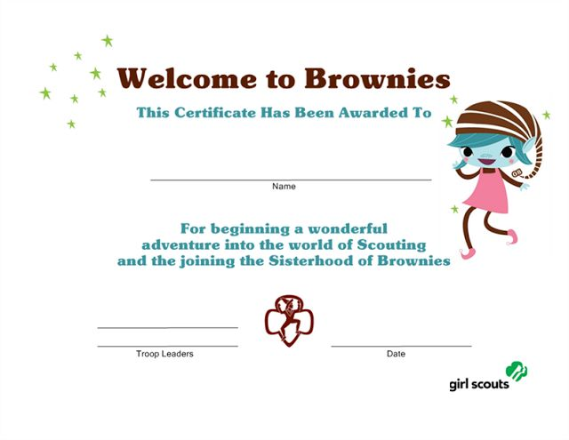 Girl Scout Printables: Welcome to Brownies Certificate ...