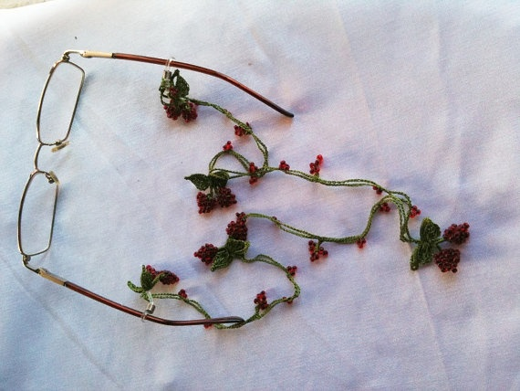 FREE SHiPPiNG  Crochet Glasses cord with red by ArtofAccessory, $21.99
