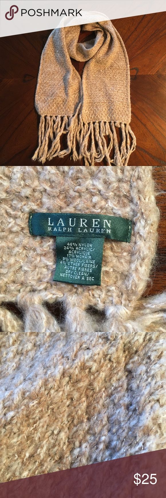 Tan Ralph Lauren Scarf Tan Ralph Lauren scarf with fringe ends and gold highlights throughout. Very soft and pretty! Brand new! Lauren Ralph Lauren Accessories Scarves & Wraps