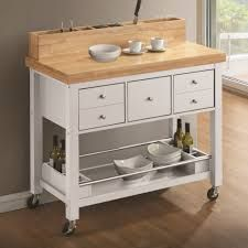Coaster 102669 White Kitchen Cart with Light Natural Top