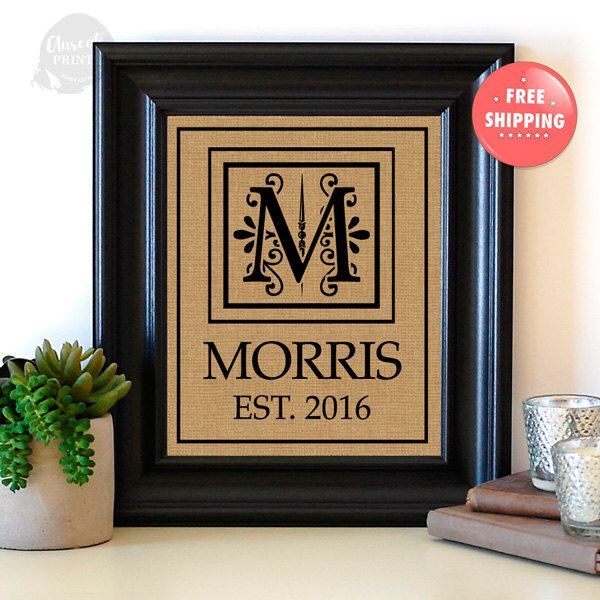 A personal favorite from my Etsy shop https://www.etsy.com/ca/listing/475588081/personalized-burlap-monogram-established
