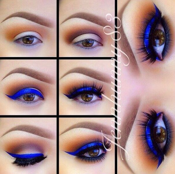 Electric Blue for Brown Eyes - How To Put On The Best Smokey Eyeshadow | Step By Step Tutorial For Brown Eyes by Makeup Tutorials http://makeuptutorials.com/13-best-eyeshadow-tutorials-brown-eyes/