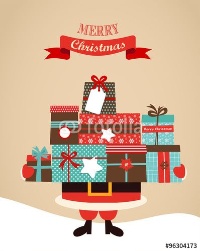 Vecteur : Santa Holding Christmas Gifts. merry christms and happy new year