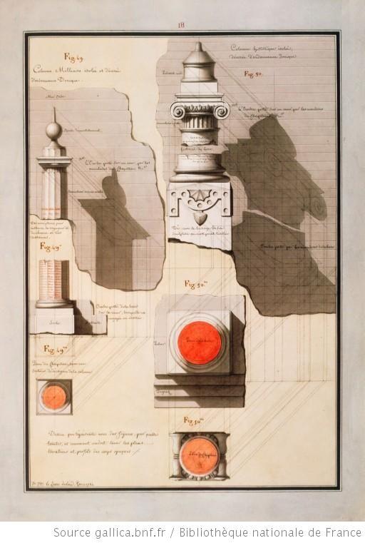 Dessin qui représente avec des figures, par quelle[s] teintes, et comment on doit laver les plans, élévations et profils, des corps opaques / 1784 - Lequeu, Jean Jacques (1757-1825?)