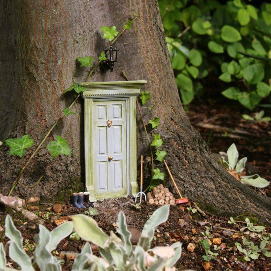 Tutorial for how to use doll house materials to create magical fairy doors and play areas in your garden or yard
