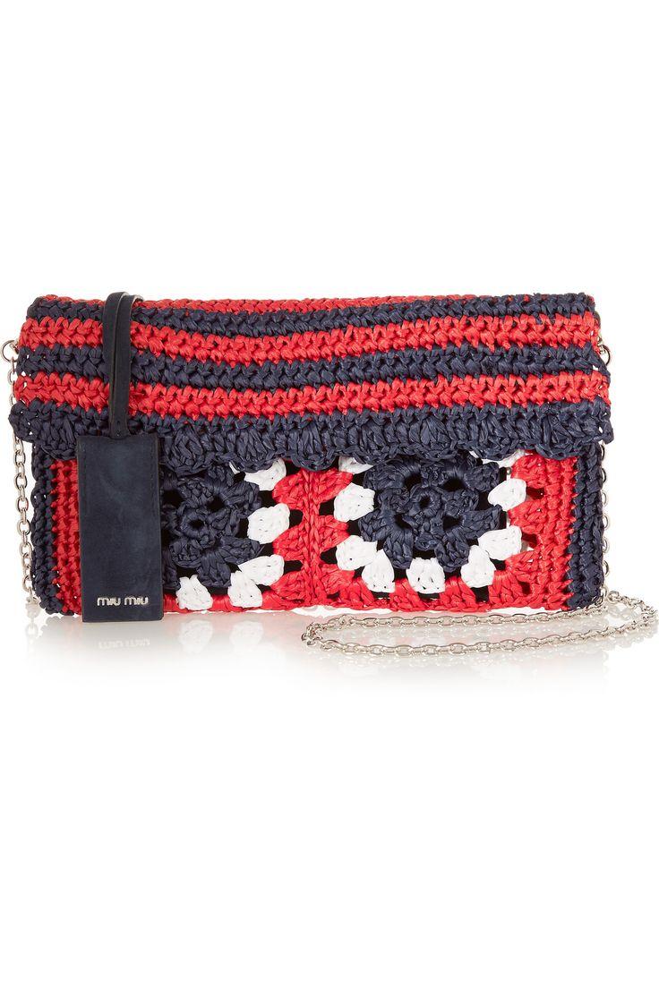 MIU MIU Raffia and suede shoulder bag