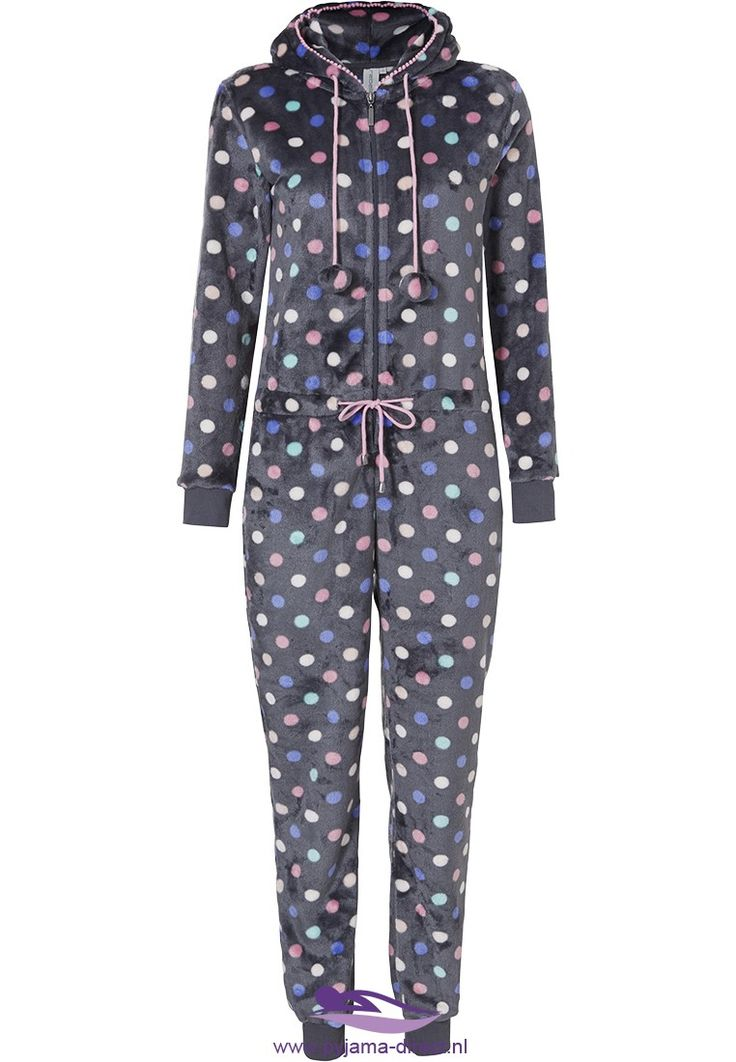 You can be 'completely dotty' and have some fun whilst you relax, still be snug & warm in this soft fleece grey onesie with pom poms
