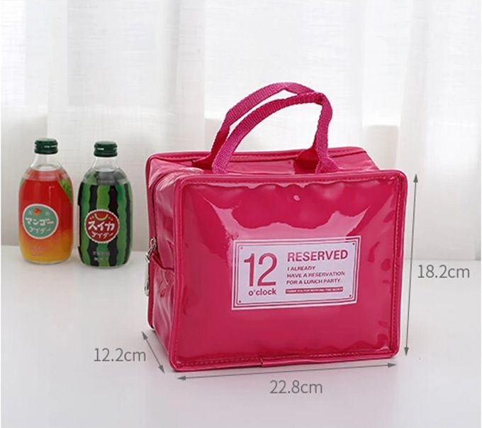 Fashion PU leather with waterproof PVC coating and PE insulation Red Green Blue White Lunch bags