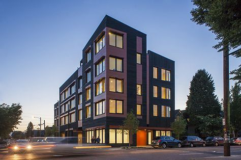 Kiln Apartments in Portland Oregon by GBD Architects (2013). 23% window glazing, Passive House