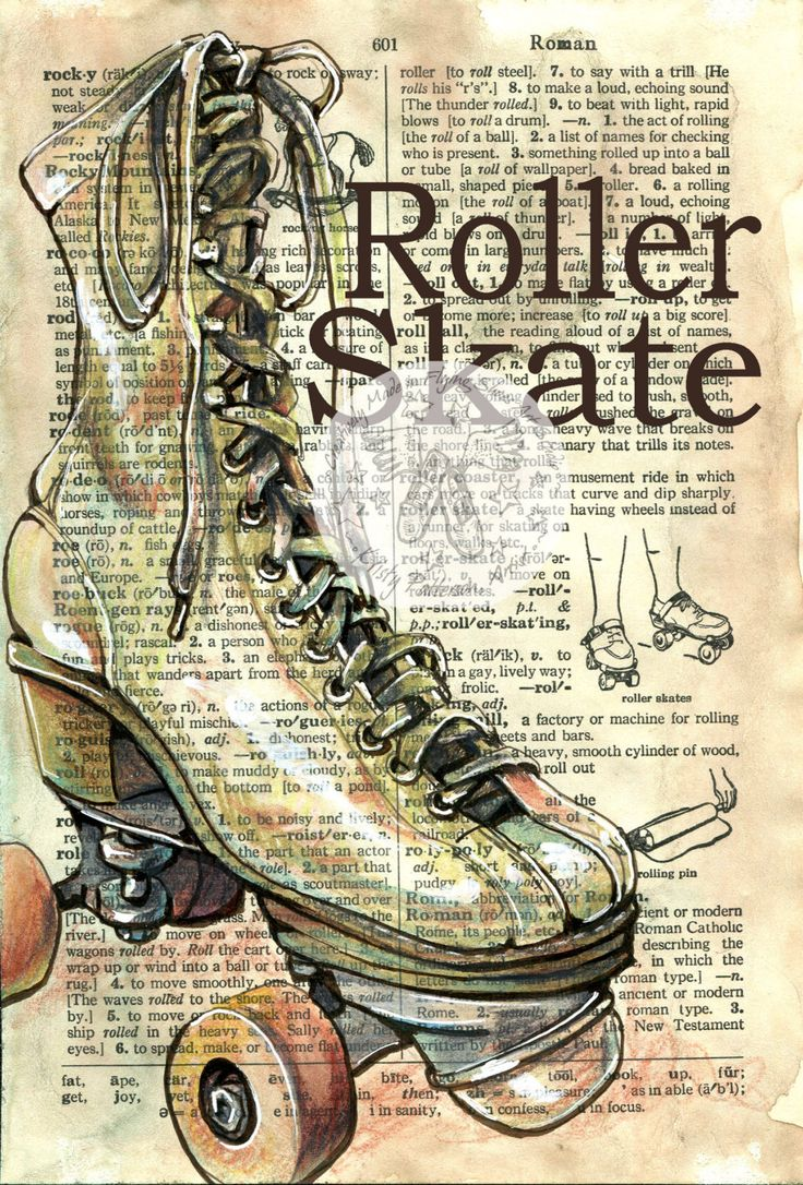 PRINT: Roller Skate Mixed Media Drawing on Antique от flyingshoes