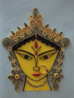 Aamader Blog: Godddes Durga Ma on paper quilling