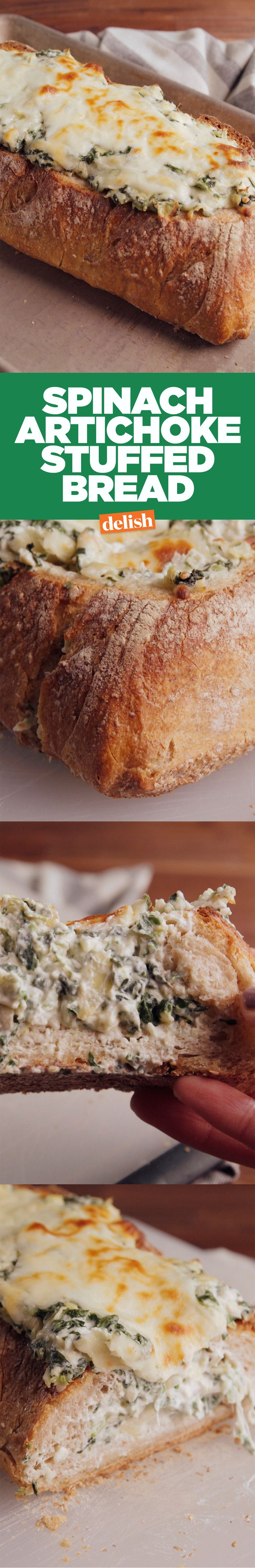Spinach artichoke stuffed bread will save you from fighting around the dip bowl. Get the recipe on Delish.com.