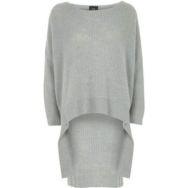 River Island Light blue RI Studio high low hem sweater (9.550 RUB) ❤ liked on Polyvore featuring tops, sweaters, loose fit sweater, slouchy sweaters, oversized knit sweaters, extra long sleeve sweater and loose knit sweater
