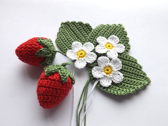 Crocheted strawberry applicationCrocheted by EdithCrochet on Etsy