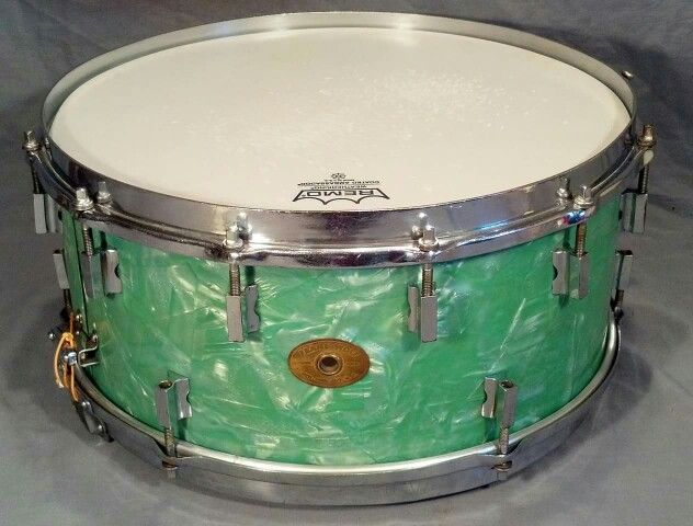 Rare 1930's Frank Wolf sea green pearl snare drum