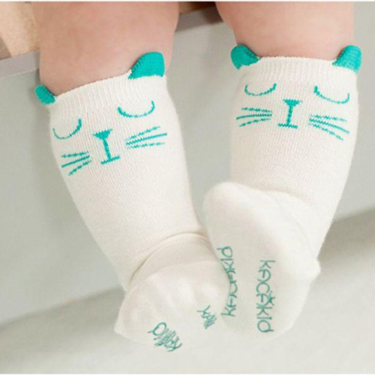 新生児幼児ニーハイ靴下赤ちゃん男の子女の子靴下抗スリップかわいい漫画猫スキッド抵抗脚ウォーマー用新生児幼児