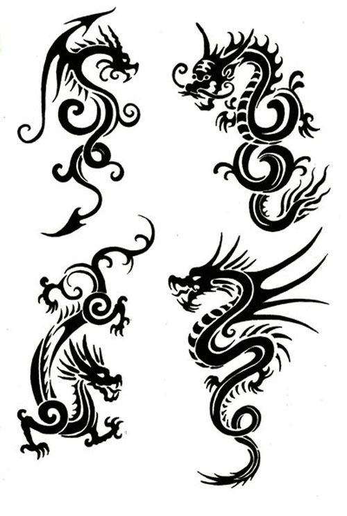 Tribal Chinese Dragon Tattoos Would make lovely patterns on pillows, clothing etc. Actually did a dress with a design quite like this in college. Simple and interesting. #dragon #tattoos #tattoo