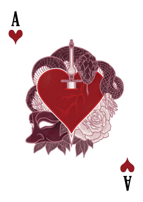 The Count of Montecristo Playing Cards - Ace of Hearts - playing cards art, game, playing cards collection, playing cards project, cards collectors, design, illustration, card game, game, cards, cardist, cardistry, card back