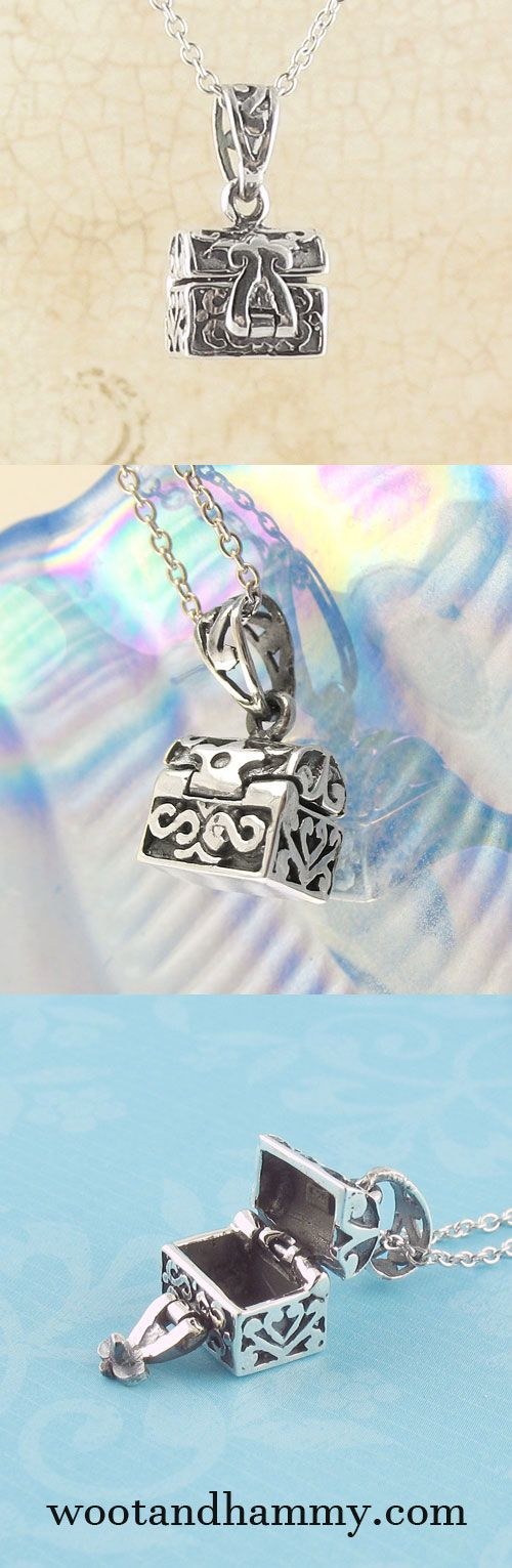 Write your secret wishes and prayers on a little note and put it in this box to keep it close to your heart. Prayer box necklace in sterling silver. See it at www.wootandhammy.com.