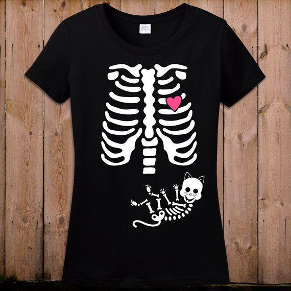 Pregnant Skeleton Shirt Halloween Pregnancy Costume Maternity Skeleton T Shirt Unisex Cat Costume Skeleton Pregnancy Shirt Ladies TShirt