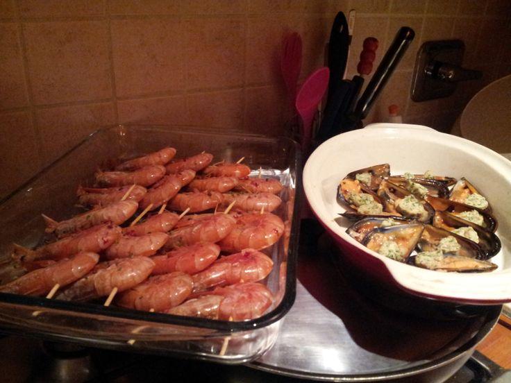 una parte del menù della cena per la Vigilia di Natale.... pesce a go go!