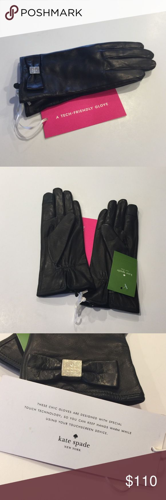 New Kate Spade Leather Tech Gloves New Kate Spade Leather Bow Tech Gloves in Black size Small - $128 at Kate Spade now in store and online. Signature hardware bow glove KS 1000212. Lamb leather with warm polyester lining 💟 Smart phone friendly! kate spade Accessories Gloves & Mittens