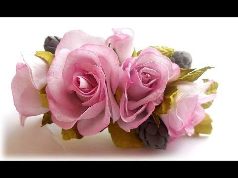 МК Заколка з квітами із шовкового фоамірану. Заколка-автомат с цветами и...