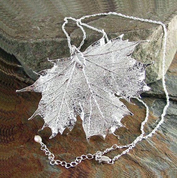 Silver Maple Leaf Necklace Sterling Silver by DorotaJewelry