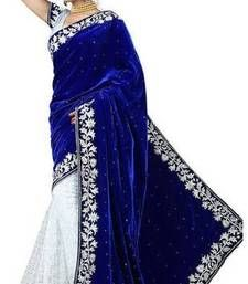 Buy Blue embroidered net saree with blouse half-saree online