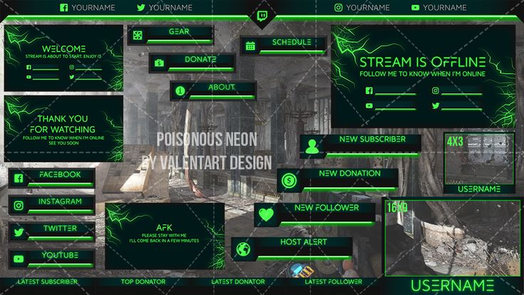 Poisonous Neon graphics Twitch Overlays in 2020