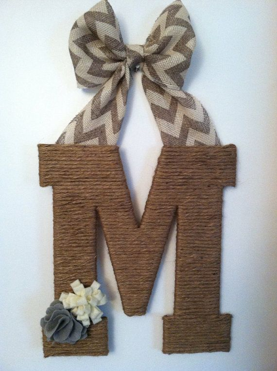 Chevron and twine letter - I love this!