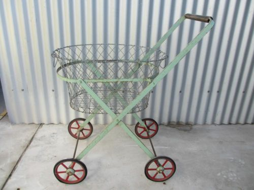 Vintage Collectable OLD Laundry Trolley AND Wire Washing