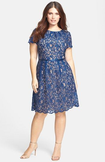 Adrianna Papell Scalloped Lace Dress (Plus Size) available at #Nordstrom