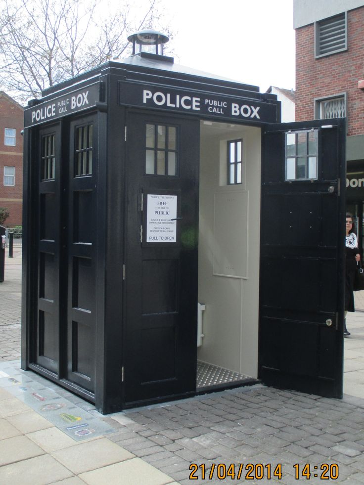 Working replica of a police phone box installed in Boscombe shopping precinct, Dorset, in 2014. Photo April 2014. #Doctor Who, #Tardis