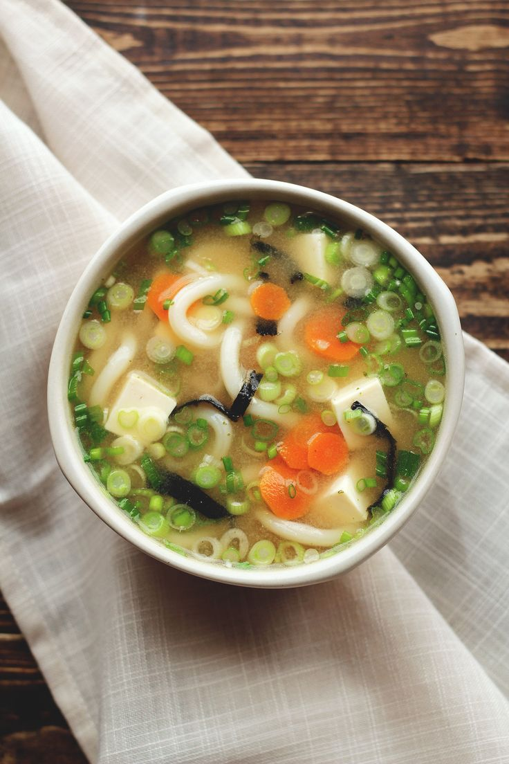 Miso Udon Noodle Soup Shiro Miso Soy Sauce Vegetable Broth Udon Noodles