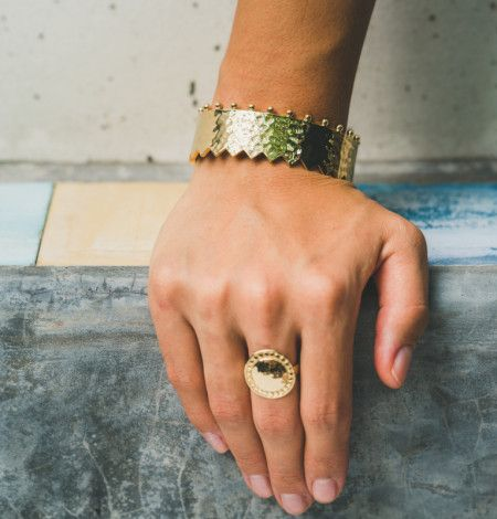 Revolution Cuff Bangle in 18 KT Yellow Gold. Shop the full collection at www.murkani.com.au