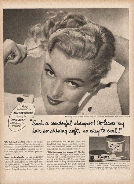 Large Antique 1951 Marilyn Monroe Shampoo Advertising Magazine Print Ad - Approx 11 x 14