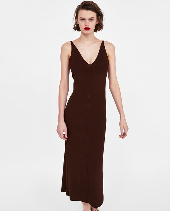 fd4896d531 Image 2 of LONG KNIT DRESS from Zara. Find this Pin and more on wedding  guest ...