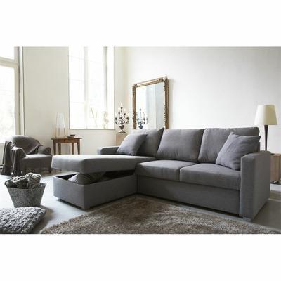 JULES Canapé convertible lit angle réversible 4 places tissu gris - Achat / Vente canapé - sofa - divan Tissu, panneaux de particules, polyuréthane-Bois - Panneaux de particules, Tissu - Toile - Cdiscount