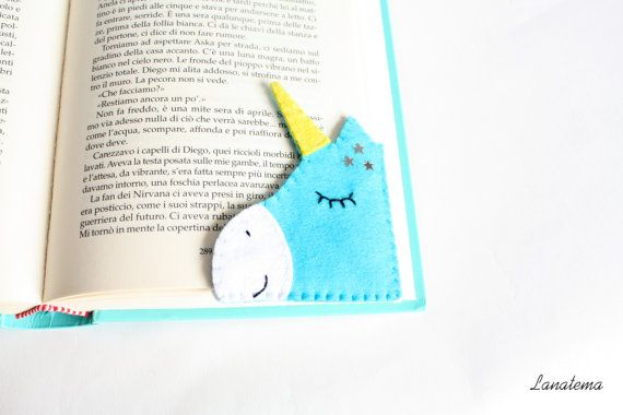 Unicorn felt corner bookmark, magic light blue unicorn with sparkling yellow horn, fantasy readings