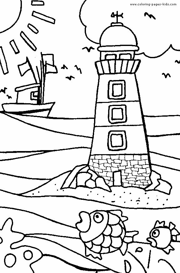 Free Beach Coloring Pages For Kids Of Colors Umbrellas