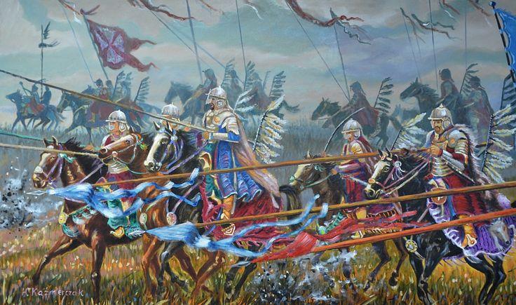 """Husaria. Polska duma"" -obraz olejny 100x60 cm, Polish Hussars - oil on canvas 100x60 cm"