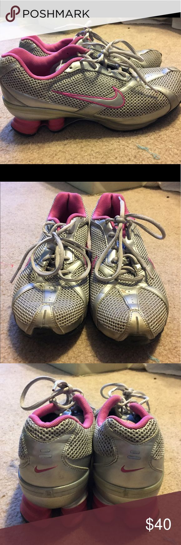 GRAY NIKE SHOCKS Perfect condition, the most comfy running shoe Nike Shoes Athletic Shoes