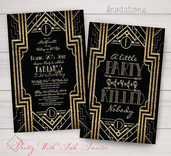 Great Gatsby Monogram Invitations for Your Special Event (Shown for Birthdays in Black/Gold)
