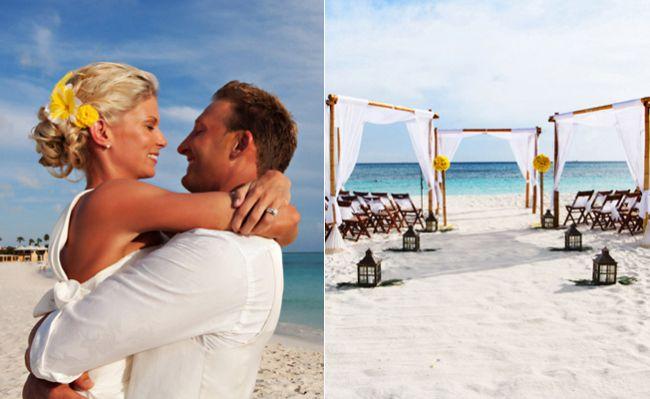A Bright Yellow Beach Wedding In Aruba. The reception is at la trattoria el faro blanco which I was also considering