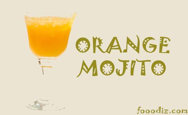 Orange Mojito,orange moktail,fresh orange juice,fooodiz,indian food recipe