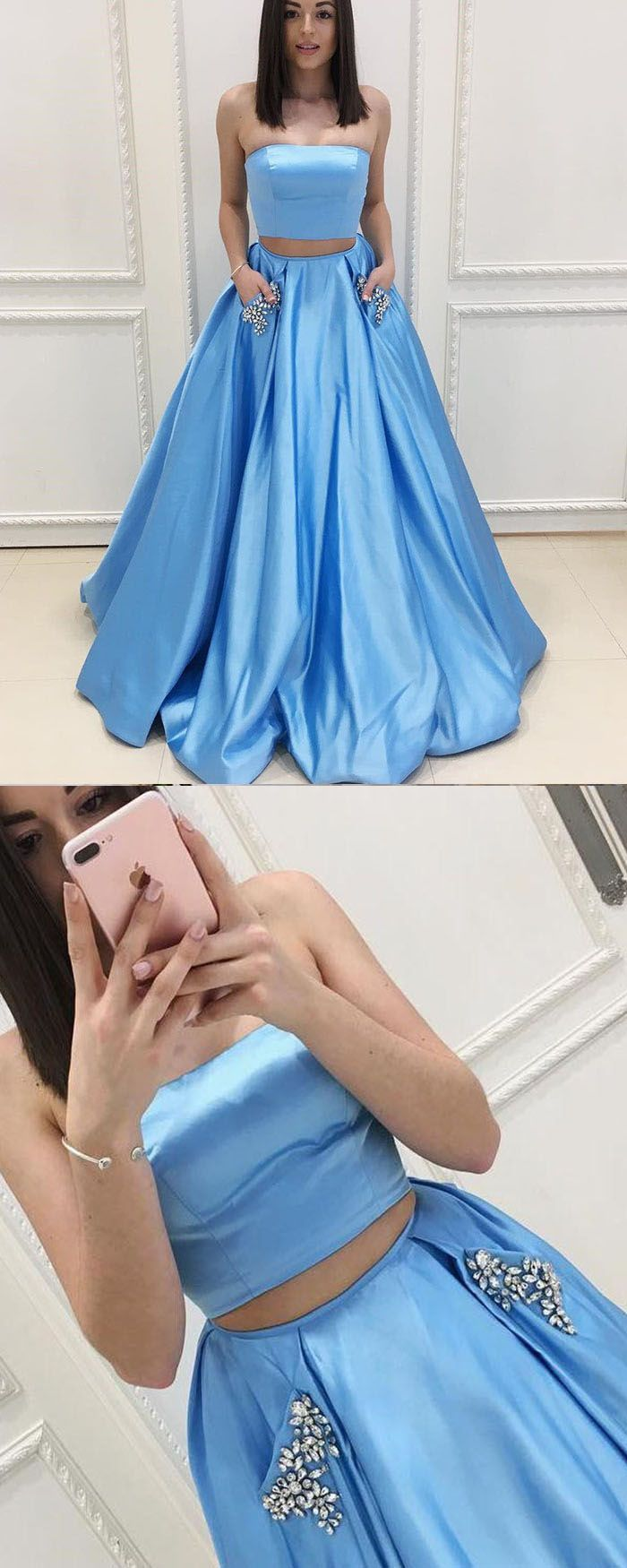 Strapless Sky Blue Two Piece Satin Prom Dress With Beading Pockets Pm1405 Strapless Prom Dresses Prom Dresses Two Piece Custom Made Prom Dress [ 1750 x 700 Pixel ]