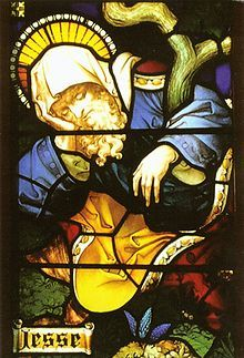 """Jesse (""""God exists"""" or """"God's gift"""") 1080 B.C. The grandson of Ruth and Boaz, Jesse was the father of David, the most famous king of Israel, identifying Jesse's line as the one through which the Messiah would come (Isa 11:1-5)   Detail of Jesse from the Stained Glass window of All Saints Church, Hove, Sussex, England."""
