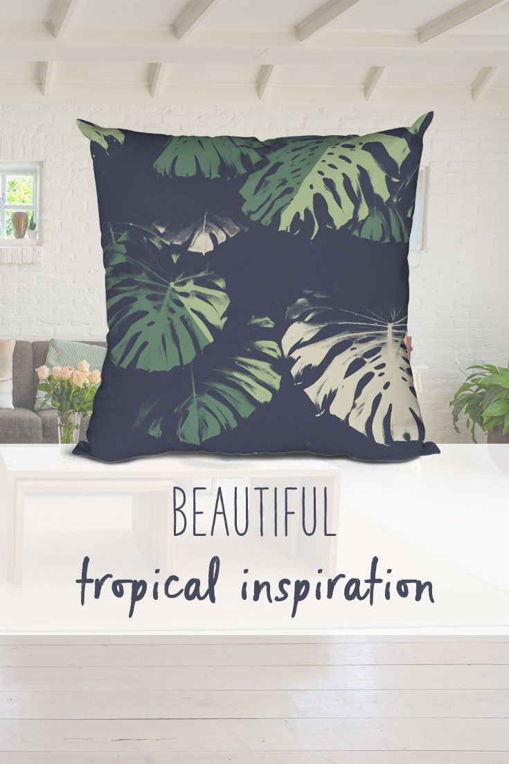 Beautiful tropical inspiration for your decor! This pillow looks great on comfy sofas and trendy homes. Bedroom, livingroom, sofa, pillow, leaves, trending, modern, grey, green, nature, chic
