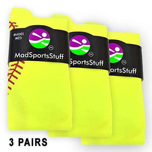 Stitch Over the Calf Socks (3 Pairs - Neon Yellow/Red, Small):   Softball Stitch Over the Calf Socks. High performance athletic socks for t-ball, softball or fastpitch. Small fits a Youth Shoe Size 2-6. Medium fits a Men's Shoe 6-9 and Women's Shoe Size 7-10. Large fits a Men's 9-12 and Women's 10-13.